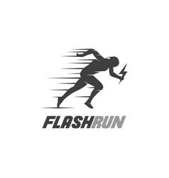 Athletics flash run logo design template vector