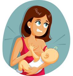 babiting mom while breastfeeding funny cartoon vector image
