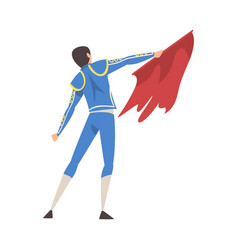 Bacl view bullfighter with red cape toreador vector