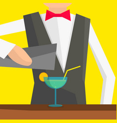 barman pouring a cocktail into a glass vector image