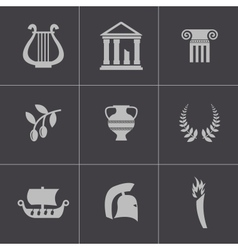 black greece icons set vector image