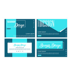 Blue banner design set web banner template abst vector