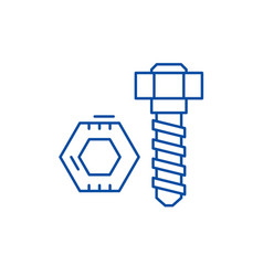 bolt and nut line icon concept bolt and nut flat vector image