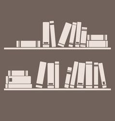 Books on shelf interior design vintage vector