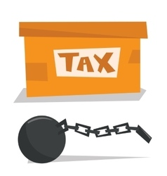 Box for taxes and chain with ball vector