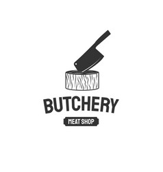 butcher shop emblem butchery store advertising vector image