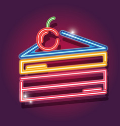 Cake with cherry fruit neon icon decoration sign vector