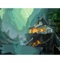 cartoon fantastic house on a cliff vector image