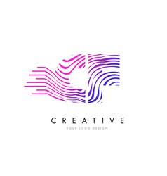 Cf c f zebra lines letter logo design with vector