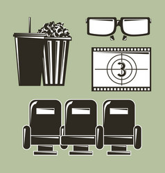 cinema movie film equipment set icons vector image
