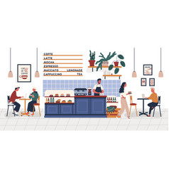 coffeehouse coffee shop or cafe with people vector image