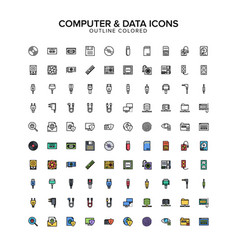 Computer and data outline colored icon set vector