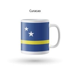 Curacao flag souvenir mug on white background vector image