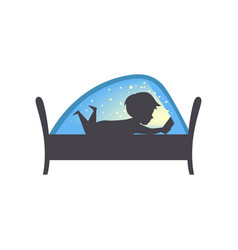 Cute boy reading a book at nigh child reading a vector