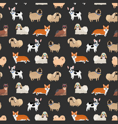 cute decorative dogs pattern vector image