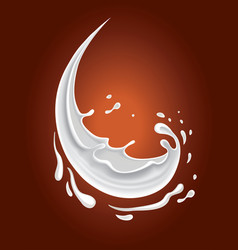 dark chocolate background with milk splash vector image
