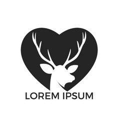 deer heart shape logo design vector image