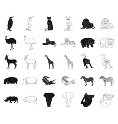 Different animals blackoutline icons in set vector