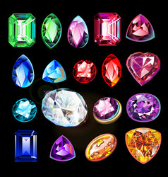 different in color shape and cut gems on black vector image
