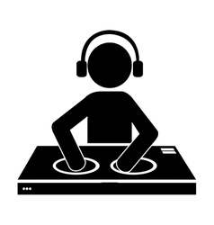 dj avatar playing music graphic vector image