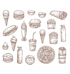 fast food meals and snacks sketch menu vector image
