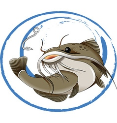 Fishing for catfish vector