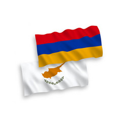 Flags cyprus and armenia on a white background vector