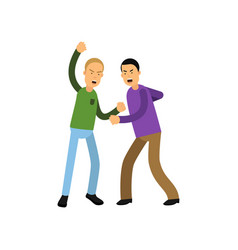 flat of two young men fighting vector image