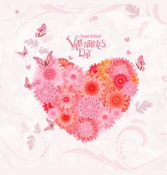 Flower heart on shabchic background lovely vector