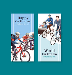 Flyer template with world car free day concept vector