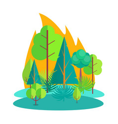 Forest engulfed in fire isolated vector