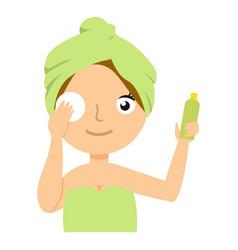 Girl character remove make up flat cartoon vector