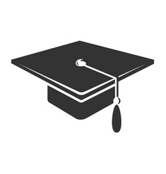 graduate cap with tassel icon black academy vector image