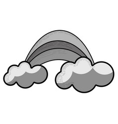 Grayscale rainbow with cloud cartoon icon vector