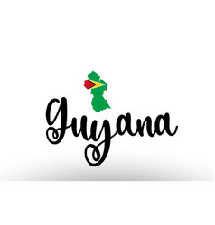 Guyana country big text with flag inside map vector