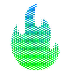 Halftone blue-green fire flame icon vector