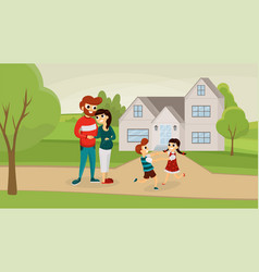 happy family outside house flat poster vector image