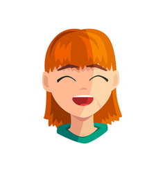 Happy smiling redhead girl female emotional face vector