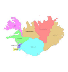 High quality labeled map iceland with borders vector