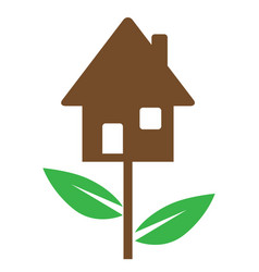 House and green leaves vector