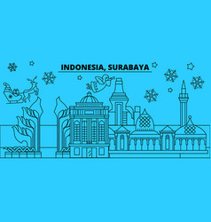Indonesia surabaya winter holidays skyline merry vector
