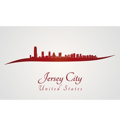 Jersey City skyline in red vector image