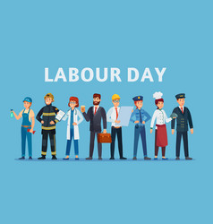 Labour day professional workers group happy vector