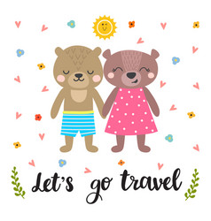 lets go travel cute postcard with two funny vector image