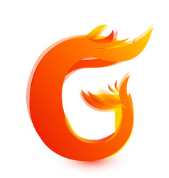 letter g in fire flame icon vector image