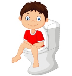 Little boy sitting on the toilet vector