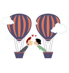 love couple fly up on air balloon isolated vector image