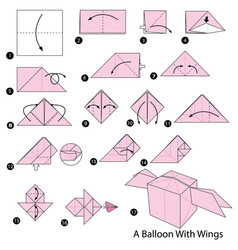 Make origami a balloon with wings vector