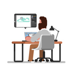 man designer doing on tablet vector image