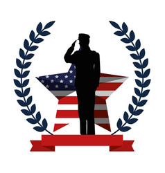 Military man silhouette with emblem flag vector